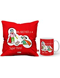 Indigifts Super Hero is Bro Quote Printed Gift Set of Cushions with Filler (12x12inch), Mug 330 ml, Crystal Rakhi (Red and White)