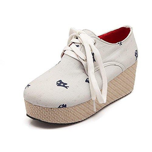 AgooLar Damen Rund Zehe Schnüren Gewebe Gemischte Farbe Mittler Absatz Pumps Schuhe Cremefarben
