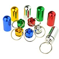 SROVFIDY Estone 1pcs Waterproof Aluminum Pill Box Case Bottle Cache Drug Holder Keychain Container Colorful