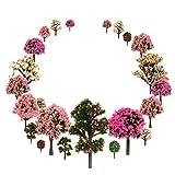 OrgMemory Mixed Bäume Modellbau, Blumen Bäume, Schleich Waldtiere, h0 Bäume, (29pcs, 3.5-12 cm), Obstbäume mit No Stände