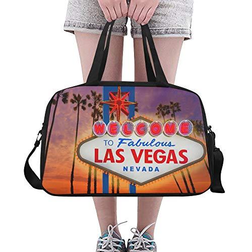 Plosds Mittlere Sporttasche Las Vegas Sign und Palme mit Sonnenuntergang Yoga Gym Totes Fitness Handtaschen Seesäcke Schuhbeutel für Sportgepäck Damen Outdoor Schultertasche für Kinder -