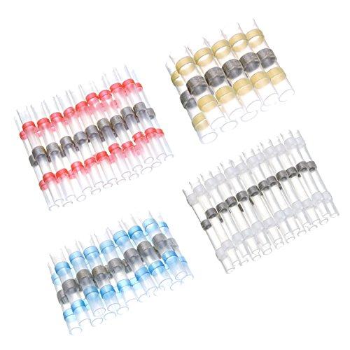 SOLOOP 50 pezzi Connettori termoretraibili saldanti ,Wire terminals(Red+Blue+White+Yellow)