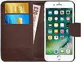 G-Shield Coque pour iPhone 7 Plus/8 Plus, Étui en Cuir Portefeuille avec Porte-Cartes, Marron