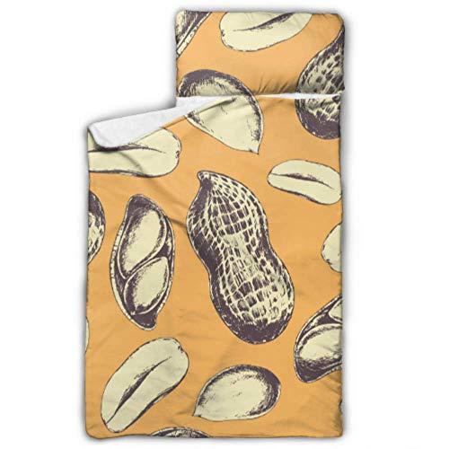 Doreen DaltonKids Schlafsack Peanuts auf oranger Nickerchen-Matte mit Kissen für Kleinkinder, Jungen und Mädchen, Klassische Schlafsack, perfekte Größe für Tagespflege und Vorschule