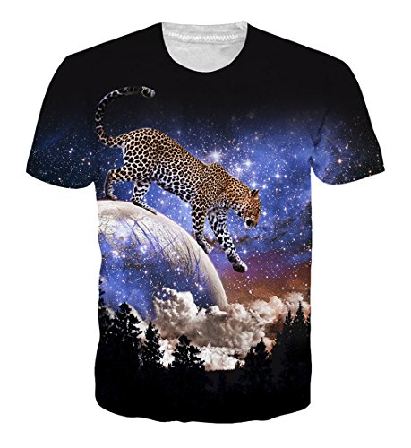 Goodstoworld 3D T Shirt Leopard Blu Druck Herren Damen Printed Sommer Lustig Hippie Beiläufige Kurzarm T-Shirts Tshirt L