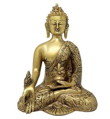 ShalinIndia - Estatua de Buda de la Medicina de latón para decoración del hogar, tamaño: 25,4 x 16,5 x 10,16 cm
