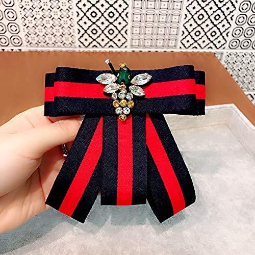 College Einfach Kostüm - JTXZD Brosche n einfache College-Streifen Strass Fliege Stoff Brosche für Mädchen Frauen Mode Kleidung Corsage Zubehör