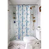 FLOZUM PVC Shower Curtain with 8 Hooks (54x78 inches) (Blue)