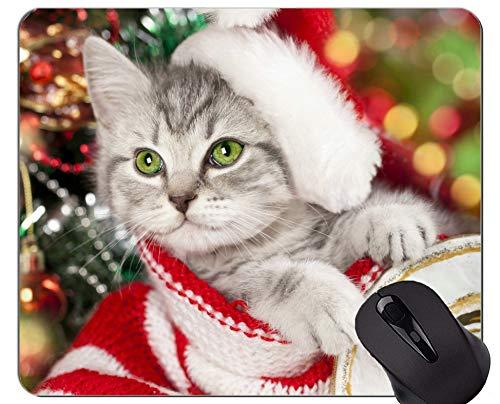 Mauspad mit genähtem Rand, defokussierte Katze des Kätzchen-Tierweihnachts Home Office-Computerzubehör Mousepads