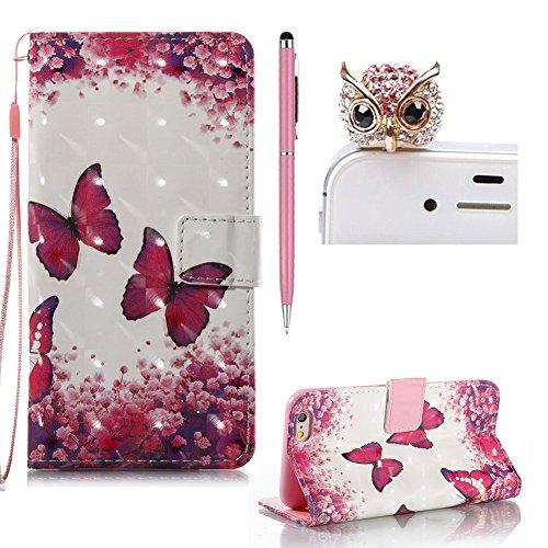 Flip Wallet Custodia Portafoglio per iPhone 6 / 6S ,SKYXD 3D Effetto Cover a Libro in Pelle Case con Porta Carte Funzione Appoggio per iPhone 6 / iPhone 6S,Gufo viola Farfalla rossa