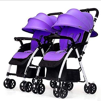 Cochecito doble de alta vista, asiento plegable o toldo ajustable inclinable y arnés de 5 puntos para gemelos