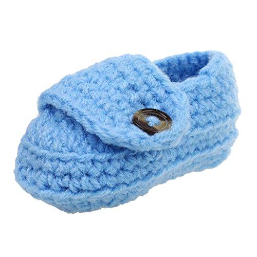 CUTICATE Neue Baumwolle Baby Kleinkind Krippe Schuhe Winter Geschenk Weiche Sohle Handgestrickte Prewalker - Blau -