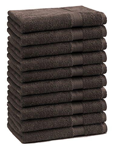 BETZ Lot de 10 Serviettes débarbouillettes lavettes Taille 30x30 cm en 100% Coton Premium Color Brun foncé