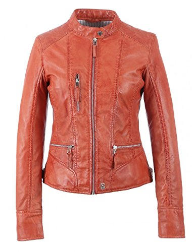 Oakwood | Each | Lederjacke - orange | coral , Farbe:orange;Größe:M