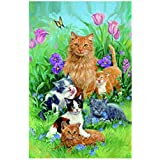 Fade Resistant Outdoors Flag The Family Of The Cats And Beautiful Garden Warm And Beautiful Picture Polyester Fabric Garden Flags 28 X 40 Inch Custom Banners Of Waterproof