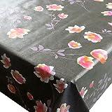 Wachstuch Breite & Länge wählbar - d-c-fix Cheryl Anthrazit Blumen Rot - ECKIG 80 x 80 bzw. 80x80 cm abwaschbare Tischdecke Wachstücher Gartentischdecke