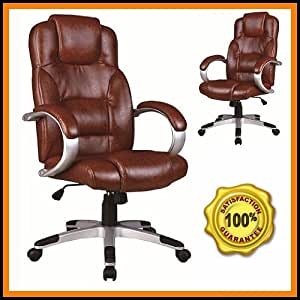Brown Leather Office Chair Strong Base | 360° Swivel Action + Rise and Tilt