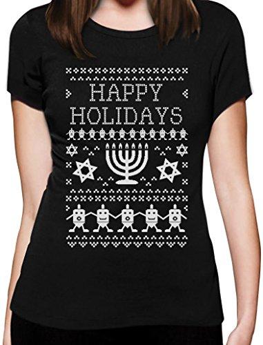 Chanukka Gechenk - Happy Holidays mit Leuchter & Dreidel Frauen T-Shirt Schwarz