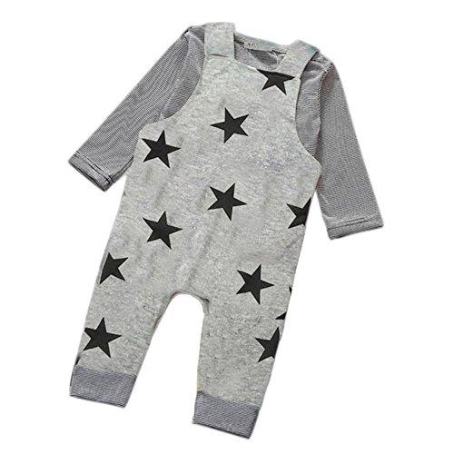 Bekleidungssets Holeider Baby Jungen Streifen Rundes Ansatz T-Shirt + Drucken Fünf-spitze Stern Schellfisch Hosen Gesamtausstattungs Sätze (0-6M, Grau) (Blau-streifen-wolle-anzug)