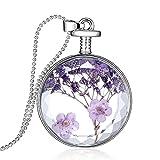 Stayoung Collar con colgante de flores secas de lavanda, cristal transparente, cadena larga de cuentas, color plateado