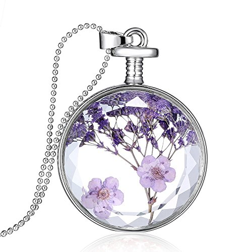 Feilok Fashion Transparente Trockener Lavendel Kristall Silber Legierung Länge Kette Rund Anhänger Halskette für Damen Mädchen...
