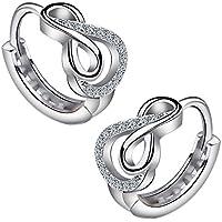 Meixao Ladies Jewelry 925 Sterling Silver Infinity Loop Hoop Stud Earrings for Women eUwzf