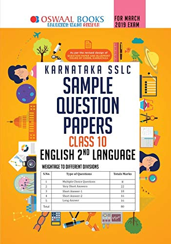 Oswaal Karnataka SSLC Sample Question Papers for Class 10 English 2nd Language (March 2019 Exam)