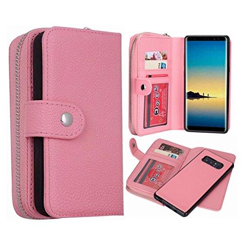 Galaxy Note 8Geldbörse Fall, hysjy Magnetic Abnehmbare Flip Leder Telefon Fall mit Kartenfächern Wristlet Gurt Tasche Abnehmbarer Slim Back Cover für Samsung Galaxy Note 8, Zip-Pink -