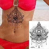adgkitb 3 stücke Wasserdicht Temporäre Aufkleber Geometrische Libelle Sternum Tattoo Schwarz Dreieck Tattoos Körper Arm Gefälschte Tattoo Ketten Sternal Patch AL09 21x15 cm