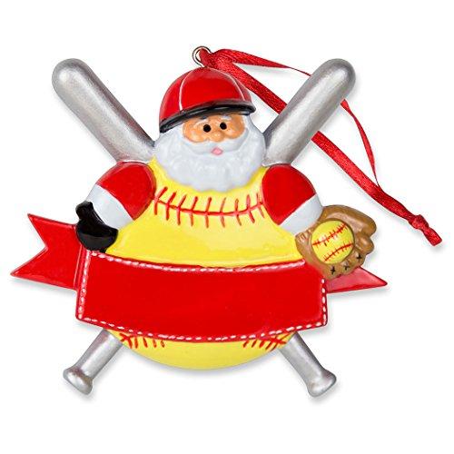 Softball Santa Kunstharz Weihnachten Ornament | Softball Ornaments von ChalkTalk Sports (Sport-ornamente, Weihnachten)