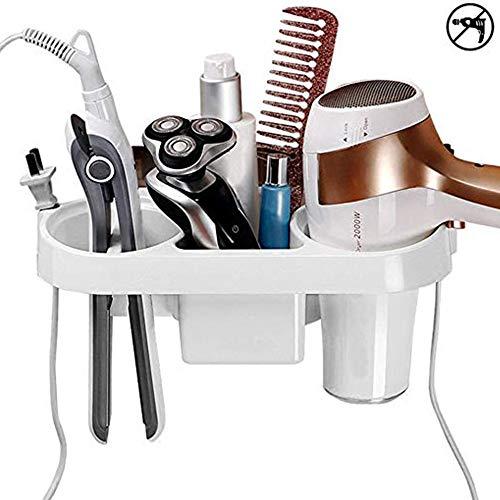 LARRY SHELL Haartrockner Halter Klebstoff Wand Montiert Kein Bohren Kunststoff Bad Föhn Lagerung mit Stecker Haken für Bad Zahnbürste Styling Werkzeuge -