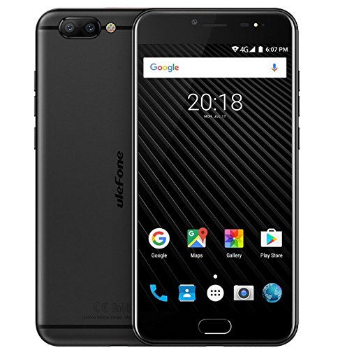 Ulefone T1 - 5.5 pollici FHD 4G Versione Globale Android 7.0 Smartphone, Helio P25 Octa Core 2.6GHz CPU, 6GB RAM + 64GB ROM, Triple fotocamere (13MP + 5MP + 16MP), GPS - Nero