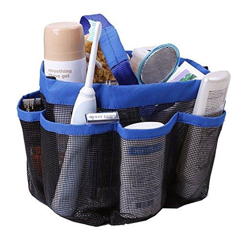 Mesh-Dusche Caddy Tote Bag, schnell trocknen Hanging Bath Organizer mit 8 Stauraum, Shop Shampoo, Conditioner und andere Badezimmer Zubehör, ideal für Dorm, Gym, Camp & Travel-Blau (Dusche Bag)