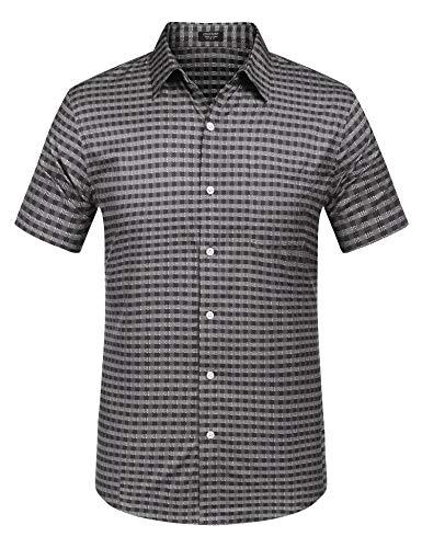 Grau Kariertes Hemd (Qioti Herren Hemd Kurzarm Sommerhemd Freizeithemd Regular Fit Brusttasche Karohemd Kariert Männer Shirt grau xl)