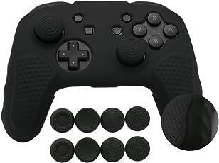 Nintendo Switch Pro Controller Hülle,CHINFAI Anti-Rutsch-Silikon-Haut-Schutzhülle mit 8pcs Thumbsticks Griffe (schwarz)