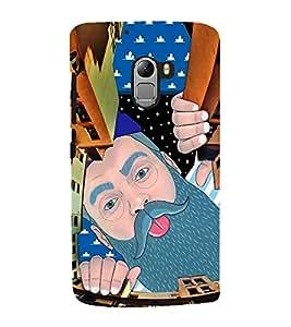 Fuson Premium Back Case Cover Man peeping With Multi Background Degined For Lenovo K4 Note