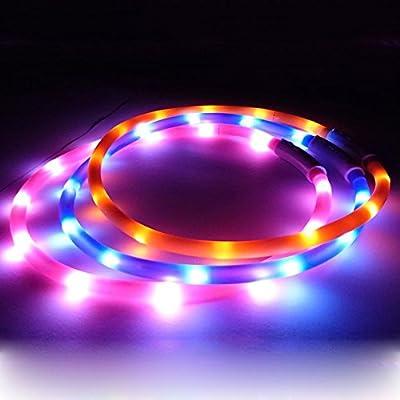 oshide LED Visio Light Halsband Gurt Leuchtschlauch Leuchthalsband Led Halsband Katzenhalsband Hundehalsband Welpenhalsband Sicherheitshalsband Halsbänder Einstellbar