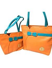 Hema Arts & Crafts Designer Glossy Hand Bags For Women/Girls(ORANGE)