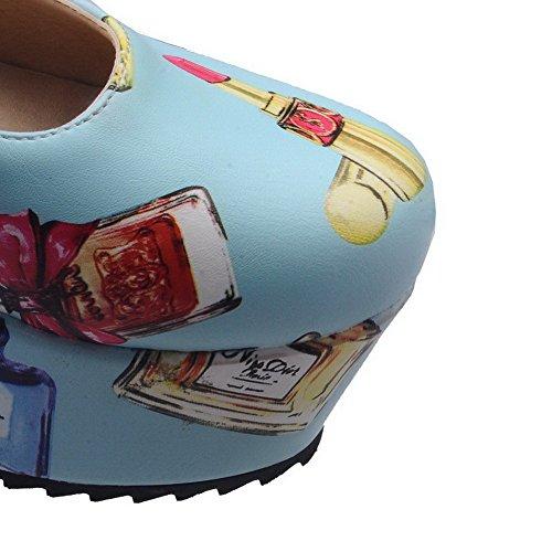 Voguezone009 In Azzurre Pu Pelle Dei Fibbia Cartoni Immagini Animati Donna Scarpe rAwaFqr