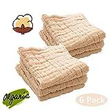 Baby Musselin Waschlappen - Leepem Baby Natural Musselin Baumwolle Baby Feuchttücher - Soft Newborn Baby Gesicht Handtuch für empfindliche Haut - Baby-Registrierung als Duschgeschenk, 6 Pack 30cmX30cm