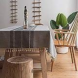 halaood Nappe Rectangulaire Couture Coton Gland Anti-Poussière pour Cuisine Décoration Table Nappe Gris 140 × 250cm