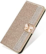 EnjoyCase Bling Case for Huawei P30 Lite,Glitter Diamond Wallet Case with Kickstand Card Slots Magnetic Chain