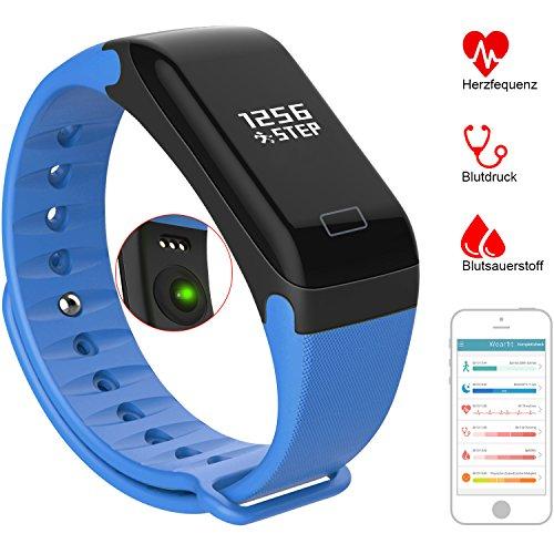 Fitness Tracker - VOEONS - Fitness Armband - IP67 Wasserdicht Blau Sportuhr - Smart Armband mit Schlafmonitor, Schrittzähler, Pulsmesser, Kalorienzähler für iOS / Android Smartphones