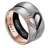 AnazoZ Sie & Ihn fürReal Love Herz Verlobungsringe Edelstahl Ringe Hochzeit Trauringe Bandringe 6MM (Preis nur für 1) (Herren 58 (18.5))