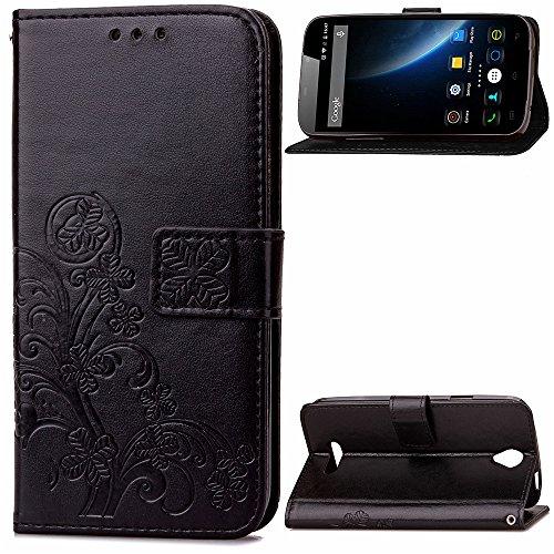 Kihying Hülle für Doogee X6 / Doogee X6 Pro Hülle Schutzhülle PU Leder Flip Wallet Fashion Geschäft HandyHülle (Schwarz - SD01)