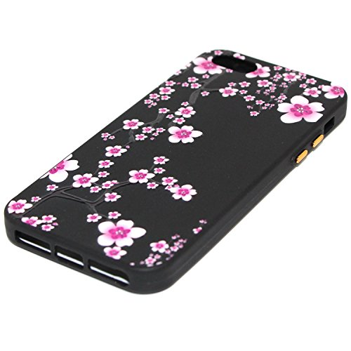 Cover iPhone 5S,Cover iPhone 5,Cover iPhone SE,Custodia iPhone 5S 5 SE Cover,ikasus® Cover custodia iPhone SE 5S 5 disegno colorato TPU con 3d arte pittura floreale fiore fiori ciliegio girasole model Fiore #12
