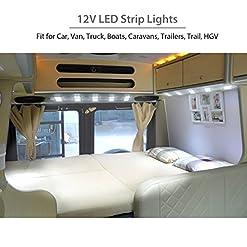 Justech LED Striscia Interni Auto Luci Lampadine Plafoniera 12V 40 LED Modulo Bianco per Camper Camion Capannone Cabina Armadio Rimorchio HGV
