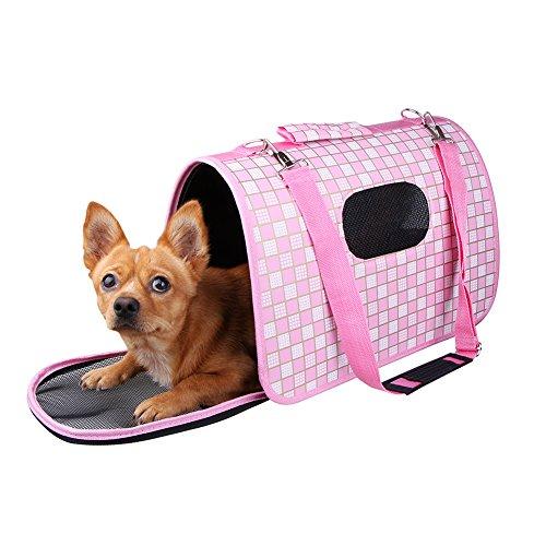 Lalawow faltbar Tragetasche Reisetasche Tasche Bandouliere Handtasche Multifunktions Komfortable Sichere für Hunde Katze mittel