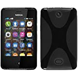 Silicone Case for Nokia Asha 501 - X-Style black - Cover PhoneNatic + protective foils
