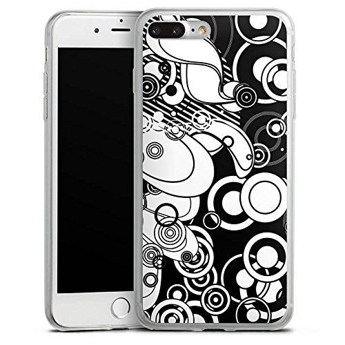 Apple iPhone 8 Slim Case Silikon Hülle Schutzhülle Muster Kreise Schwarz-Weiß Silikon Slim Case transparent